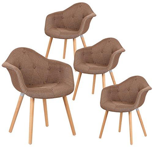 EUGAD 4er Set Esszimmerstühle Esszimmerstuhl Polsterstuhl mit Massivholz Beine,Essstuhl mit Arm- und Rücklehne, der Sitz aus Leinen, BH55br-4, Braun