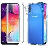 AOBOK [2 Stück, Hülle für Samsung Galaxy A50, Panzerglas für Samsung Galaxy A50, Transparent Weiche Silikon [ Ultradünnen ] Flexibel Bumper Handyhülle TPU Kratzfest Handy Schutzhülle