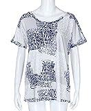VEMOW Sommer Heißer Verkauf Elegante Damen Womens Fashion Kurzarm Bluse Brief Drucken Casual Täglichen Party Weit GeschnittenShirts Tasche Tops (S-5XL)(Grau, EU-46/CN-XL)