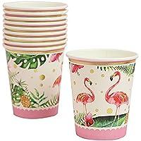 Perfeclan 10 unids flamenco tropical papel vasos desechables fiesta de cumpleaños vajilla decoración
