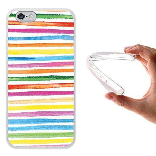 Farbige Aquarell (WoowCase iPhone 6 6S Hülle, Handyhülle Silikon für [ iPhone 6 6S ] Aquarell- farbige Streifen Handytasche Handy Cover Case Schutzhülle Flexible TPU - Transparent)