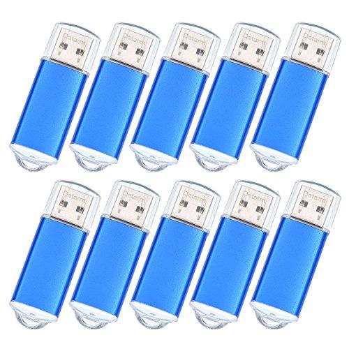 128 MB Speicherstick 10 Stück Mini USB-Sticks - Externe Geräte Datenspeicher Memory Stick - Metall Kleine Kapazität USB-Flash-Laufwerk - Datarm Pendrive USB 2.0 Memory Stick für Werbung Blau