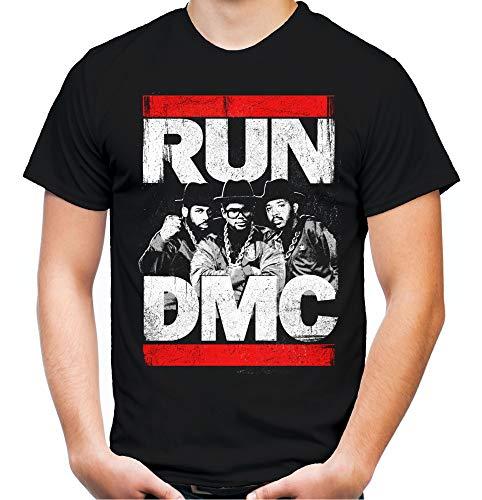 Run DMC Männer und Herren T-Shirt   Logo Musik Hip-Hop   M2 (4XL, Schwarz) (Run Dmc Outfit)