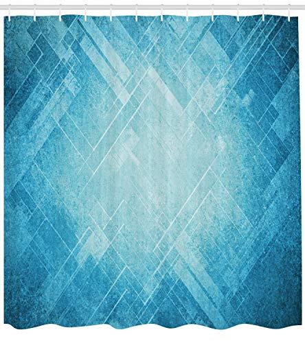 ABAKUHAUS Blau Duschvorhang, Grungy abstrakte Chevron-Linien, mit 12 Ringe Set Wasserdicht Stielvoll Modern Farbfest und Schimmel Resistent, 175x200 cm, Türkis und Blau (Blau Duschvorhang Set)