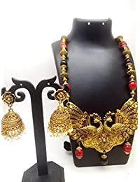 ShreeVari Fashion Gold Plated Black Peacock Necklace Set With Earrings For Women