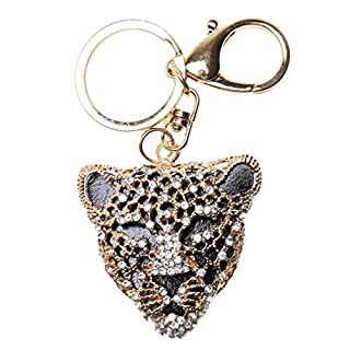 A-szcxtop Bling Rhinestone Exquisite Cute Refined Taste Cheetah Metal Keychain Keyring (Golden)