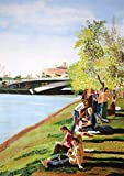 Singolo lavoro. Verniciato a mano Vernice acrilica su carta. Immagine di paesaggio. Multicolor. 70 x 51 cm. Riposare sul fiume.