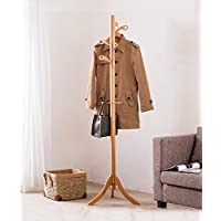 LIANGJUN Floor Standing Coat Hat Rack Solid Wood Tree Twig Shape Triangular Legs, 3 Colors, 50*179cm