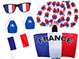 9 tlg. Alsino WM Fanpaket Frankreich FP-08 Fanartikel Fussball Fanset Flaggenumhang Caxirola Brille