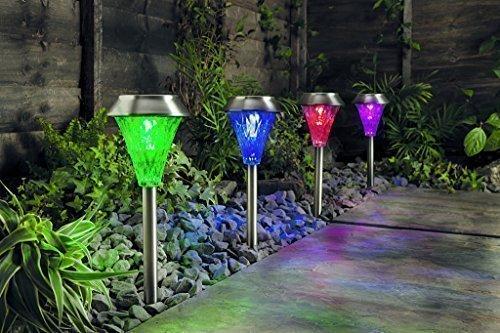 Wetterfestes 4er Set Solar Leuchten mit Fernbedienung - Solar Lampen Set Garten Solar Leuchten Set LED Edelstahl XL Sternenoptik Solar Lampe LED mit Effekten Wegeleuchte Edelstahl Motiv Lampe wetterfest (4er mit Fernbedienung)