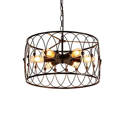 Pendelleuchten Industrie Wind Bügeleisen Kronleuchter, Wohnzimmer Restaurant Internet Cafes Bar Lampen E27 (Farbe : Schwarz)