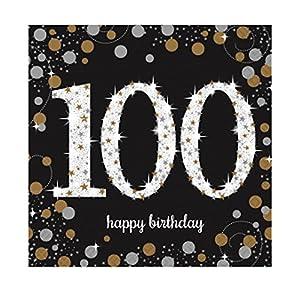 Amscan International-9901737oro celebración 100th servilletas 33cm