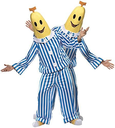 Smiffys, Unisex Bananas in Pyjamas Kostüm, Oberteil, Hose, Kopfteil und Überschuhe, Größe: M, 33131