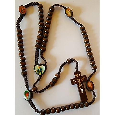 Rosario in legno scuro croce nostra Signora di Grazia Cuore San icone - Cuore Rosario Croce