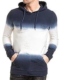 Gov Denim - Tshirt homme bleu et blanc destroy à capuche