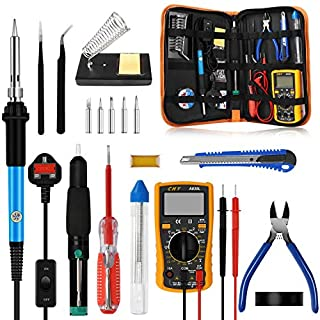 Soldering Iron Kit, 60W Adjustable Temperature Soldering-iron Gun Kit with Digital Multimeter/5 Soldering Tips/Desoldering Pump/Carrying Case and 2 Tweezers Soldering Welding Tools for Various Repairs