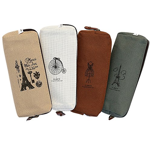 Ipow Hot Vintage Canvas Student Pen Pencil Case Coin Purse Pouch Cosmetic Makeup Bag,set of 4