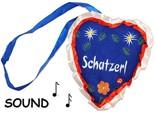 """Preisvergleich Produktbild Lebkuchenherz mit Sound + Sprüchen zum Umhängen - """" Schatzerl """" - Lebkuchenherz - Dirndl Tracht / Trachtentasche Bayrisch Edelweiß - blau - aus Plüsch - Kirmes - Lebkuchen Herzen - Liebe / Liebesspruch"""
