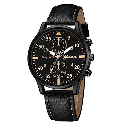 Männer Armbanduhr aus Leder–Linqi1164 Analog Quarz Armband Armee Militär Armbanduhren Cool Sport Herren Uhren Edelstahl Herrenuhr Damenuhr für Halloween Weihnachten Geschenk ()