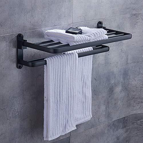 BAIVIT Europäische Antike Badezimmer Handtuchhalter Faltbare Wand Hotel Handtuchhalter Bar Regal Schwarz,60cm