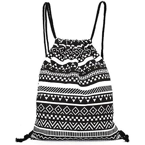 Sannysis mujeres mochilas de lona, raya de color, 34.5cm X 40cm (A)