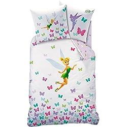 Juego de cama de Hadas Disney, CampanillaFunda de edredón de 140 x 200 cm y funda de almohada de 63 x 63 cm, 100 % algodón.