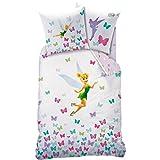 Disney Fairies–Tinkerbell–Bettwäsche: Bettbezug (140x 200cm) + Kissenbezug (63x 63cm)–100% Baumwolle