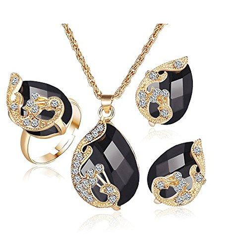 Schmuck-Set Kette, Ohrringe und verstellbarer Ring mit Alloy Crystal Gold-Schwarz