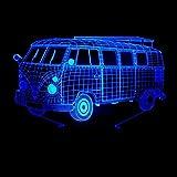 Lampada da tavolo piccola 3D, Bus creativo Luce notturna USB colorato Tre dimensioni Luci visive Camera da letto Lampada da tavolino da notte Lampada da tavolo regalo di compleanno regali di festa 20 * 13cm ( dimensioni : 20*13cm ) immagine