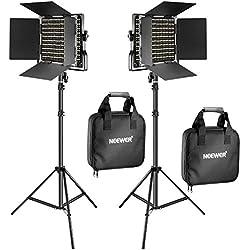 Neewer 2 Packs 660 LED Lumière Dimmable Bicouleur et Support d'Eclairage:(2)3200-5600K CRI 96+ LED Panneau avec Support U et Barndoor (2)Support de Lumière pour Studio Photo Vidéo