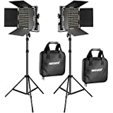 Neewer 2Piece Bi Colour 660LED Video Lighting Stand Kit includes: (2) 3200K ~ 5600K CRI 96+ Dimmabre Video Light with Bracket and Barn Door, (2) 190cm Light Stand for Studio Photography