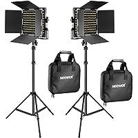 Neewer 2 Packs 660 LED Lumière Dimmable Bicouleur et Support d'Eclairage Kit Comprend: (2)3200-5600K CRI 96+ LED Panneau avec Support en U et Barndoor , (2)78,7 pouces Support de Lumière pour Studio Photographie Video Tournage