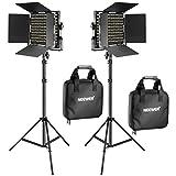 Neewer 2 Stück Bi-Farbe 660 LED Video und Lichtstand Kit beinhaltet: (2) 3200k-5600K CRI 96+ Dimmabre Licht mit U Halterung und Scheunentor, (2) 190cm Lichtstand für Studio Fotografie Video