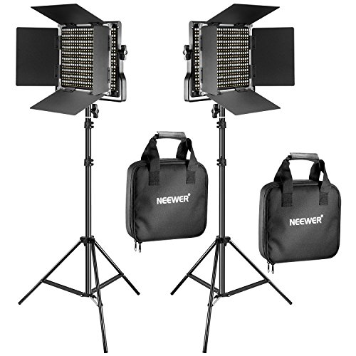 Neewer 2 Kit d'Illuminazione Pannello Luce 660 LED Bicolore Dimmerabile & Cavalletto: Faretto LED 3200-5600K CRI 96+ con Staffa-U & 190cm Cavalletto per Fotografia Registrazioni Video in Studio