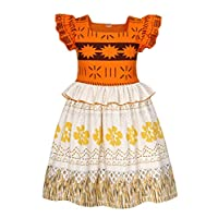 AmzBarley Moana Dress up for Girls Princess Costumes Kids Birthday Theme Party Gifts Childrens Outfit Fancy Dresses Holiday Playwear Sundress Size 9-10 Years Orange