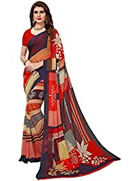 Mrinalika Fashion Georgette Saree With Blouse Piece (sarees Below 500 Rupees Georgette 14017_multi-coloured_Free...