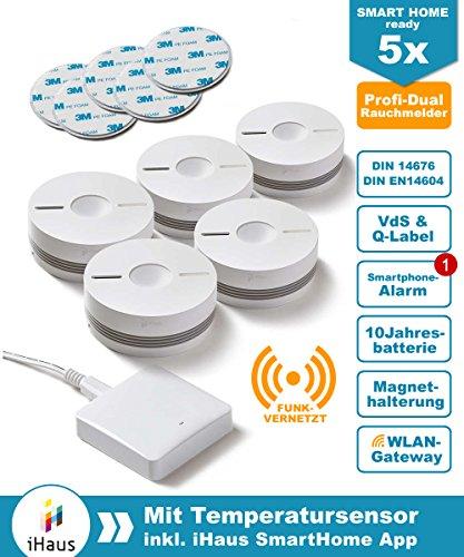 Rauchmelder 5er Set (VdS - DIN EN 14604) - Dual und Funk Vernetzbar + WLAN Gateway + Magnethalterung + Lithium 10 Jahres Batterie von iHaus Smart Home