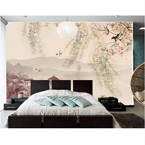 Pbldb Custom 3D Wandgemälde, Weidenbaum Schluckt Die Traditionellen Chinesischen Malerei Tapete, Wohnzimmer Tv Sofa Wand Schlafzimmer-400X280Cm -
