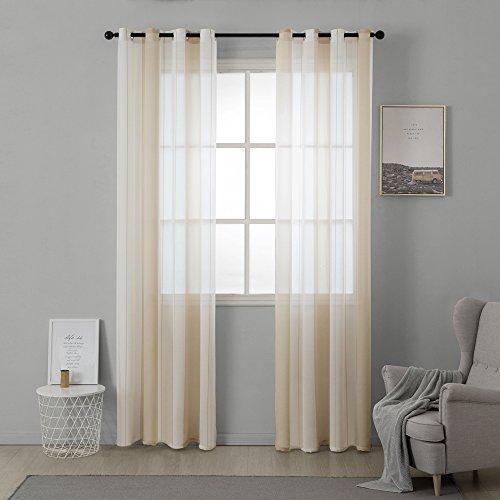 Miulee lino voile tenda finestra con occhielli tenda a pannello tende a vela trasparente per soggiorno e camera da letto 2 pezzo set bianco+beige 140 * 225cm