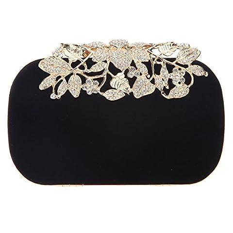 Bonjanvye Glitter Velvet Flower Clutch Daily Handbag for Girls Black