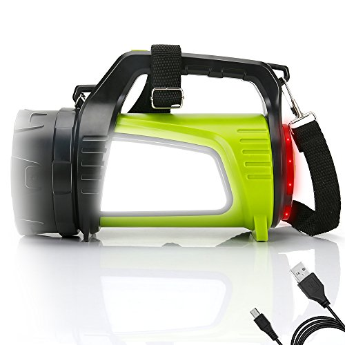 QCY LED Campinglampe LED Handscheinwerfer, High Light Taschenlampen 3 Modi, 2 Seiten Licht, 4400mAh wie power bank Energieversorgung, Suchscheinwerfer Wiederaufladbar IPX4 Wasserdicht Camping Laterne