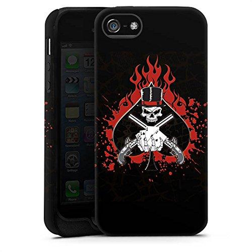 Apple iPhone X Silikon Hülle Case Schutzhülle Totenkopf Feuer Pik Tough Case matt