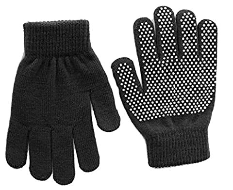 Childrens magic gripper gloves. BNWT. Available in choice of 7 colours; red, navy blue, lilac, pale blue, black, baby pink or purple. Super stretchy, fits 4-10 year olds. (Black)