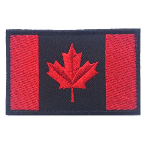 KingNew Kanadische Flagge Kanada Maple Leaf, 2x 3Military Patch Moral Patch (schwarz, rot)