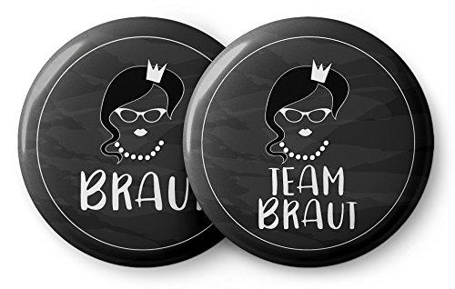 Coole Junggesellinnenabschied Buttons in schwarz und weiß - 12 Schöne Junggesellenabschied (JGA) Accessoires im Set - Die Anstecker sind ideal als Geschenk für die Braut und Ihr Team (Team Bride)