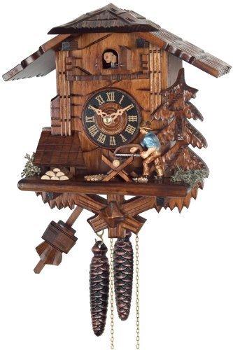 River City Clocks One Day Cuckoo Clock Cottage, Man Sawing Wood by River City Cuckoo Clocks - Cottage, Cuckoo Clock