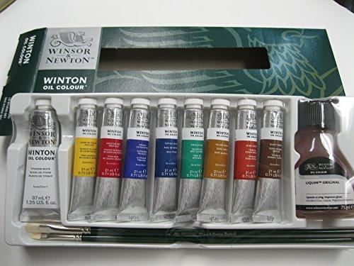 Winsor & Newton 1490691 Winton Ölfarben Set, hohe Pigmentkonzentration, gute Deckkraft und Tönungsstärke, 8 Ölfarben in 21 ml - Winsor öl-pinsel