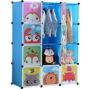 BRIAN & DANY Erweiterbares Kinderregal Kinder Kleiderschrank Stufenregal Bücherregal mit Türen & 2 Aufhängern, tiefere Fächer als normal (45 cm vs. 35 cm), 110 x 47 x 147 cm Rosa