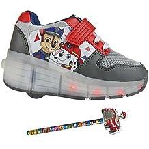 Zapatillas con ruedas y luces Patrulla Canina, Chase - Paw Patrol Roller Shoes + lápiz de regalo