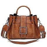 2f945ef364b Bolso de Cuero de PU Pequeño Bolsa de Mano Bolsa de Hombro Tote Crossbody  Bolso Shopper para Mujer Trabajo Viaje Marrón